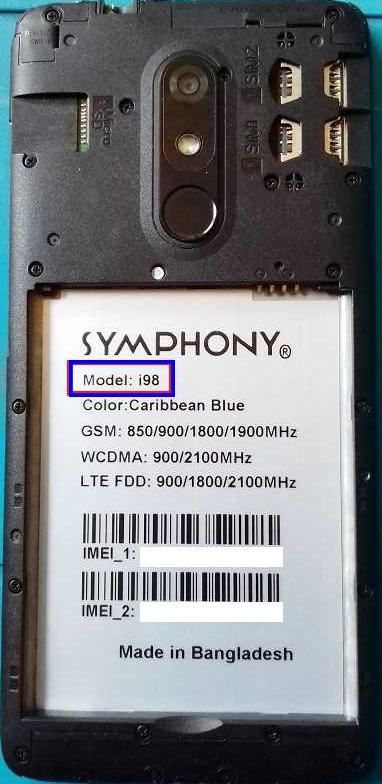 Symphony i98 Flash File [ HW1 V7 SPD ] Care  Firmware